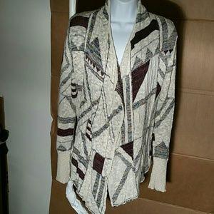 BKE Cream Tweed Open  Sweater. S
